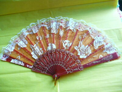 RED AND WHITE  FLORAL HAND FOLDING  FAN (great 4 summer)
