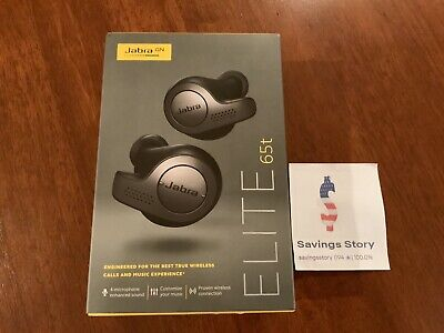 Jabra Elite 65t Alexa Enabled True Wireless Earbuds & Charging Case Titanium NEW