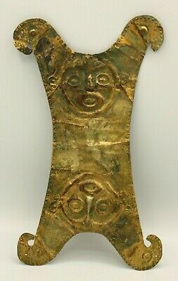 Pre Columbian Tumbaga Pectoral Monkey Faces Parrot Heads
