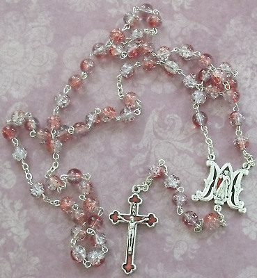 New Divine Mercy Red Pink White Crackle Glass Bead Red Enamel Crucifix Rosary