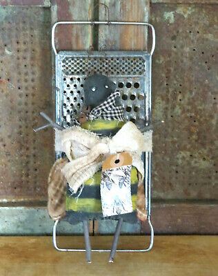 BE GRATEFUL Grubby Primitive Honey Bee Artist Made Distressed Rag Doll OOAK