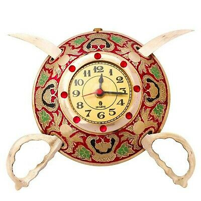 Brass Rajasthani Vintage Real Brass Sword Antique Look Wall Clock 8''