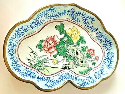 Antique Chinese Brass Enamel Hand Painted Dish