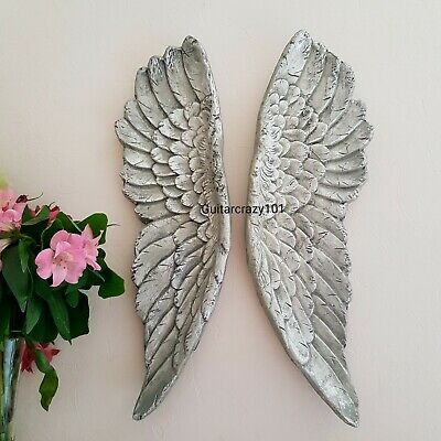 Large wall mounted Angel Wings aged SILVER finish wall hanging art 61cm