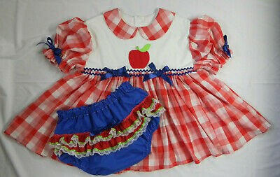 Adult Baby Sissy Littles ABDL Back to School Red Check Apple Dress Set