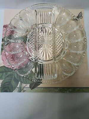 Vintage Indiana Glass Clear Deviled Egg Plate Platter Relish Tray MINT