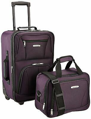 $240 New Rockland 2 Piece Carry On Luggage Set Rolling Wheel Suitcase Purple