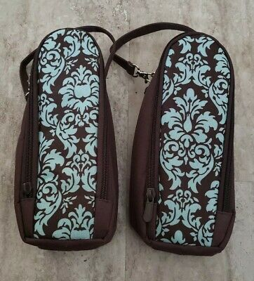 2 ENFAMIL Baby Bottle Travel Carrier Case Brown Blue Zippered Insulated Portable