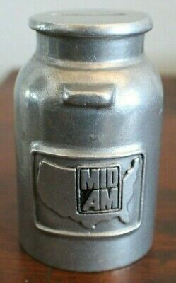 vintage MID-AM DAIRY DAIRYMEN MILK CAN COIN PIGGY BANK FREE SHIPPING IN THE USA!