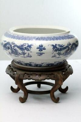 Antique Chinese Censer Blue & White porcelain 5 toe dragons pearl Quianlong 10 ""