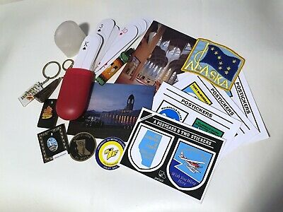 Travel Junk Drawer Lot Patch, Pins, Postcards, Decals, Keychains, Playing Cards