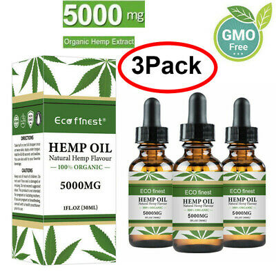 3Pack 5000mg Hemp Oil For Pain Relief Anxiety Sleep Anti Inflammatory Extract &