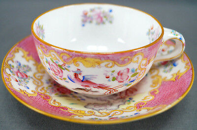 Minton Cockatrice Pink Hand Colored Entwined Handle Tea Cup & Saucer 1891 - 1902