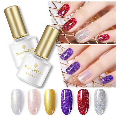 BORN PRETTY Glittery Holographic Sequins Gel Nail Polish UV Gel Pink Gold 6ml