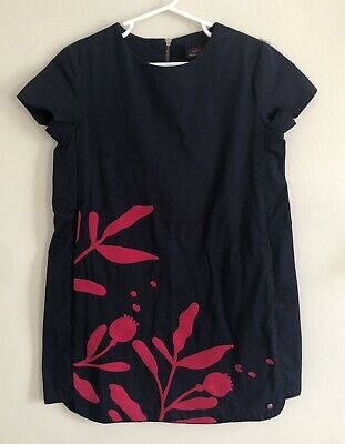 Catimini Girls Dress Navy Blue Embroidered Floral Shift Size 7
