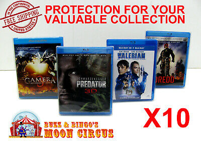 10x BLU-RAY WITHOUT SLIPCOVER - CLEAR PROTECTIVE BOX PROTECTOR SLEEVE CASE