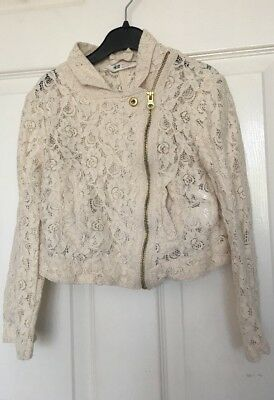 Girl's H&M Smart Lace Cream Cropped Jacket Age 6-7 yrs ⭐️GC⭐️
