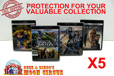 5x 4K UHD WITHOUT SLIPCOVER - CLEAR PROTECTIVE BOX PROTECTOR SLEEVE CASE