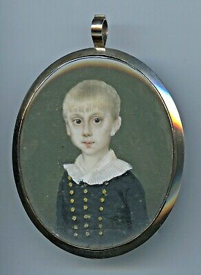 Georgian/Early Victorian Hand Painted Miniature Post Mortem Mourning Locket