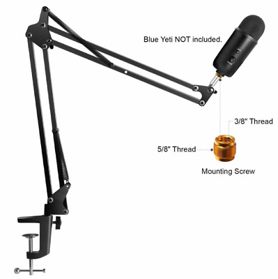 Microphone Desk Arm Stand Mount Blue Snowball ice Yeti Holder Adjustable Boom