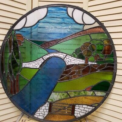 Beautiful Stained Glass Countryside Scene