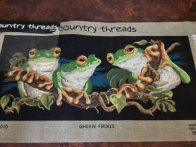COUNTRY THREADS Unworked TAPESTRY CANVAS Cotton GREEN TREE FROGS