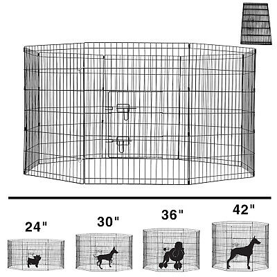 24'' 30'' 36'' 42'' Metal Dog Exercise Playpen Pet Fence Folding Crate 8 Panels
