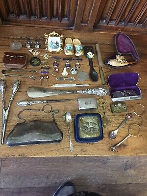Joblot Rare Antiques Curios Collectables Georgian Silver Snuff Rolex Spoon Pipe