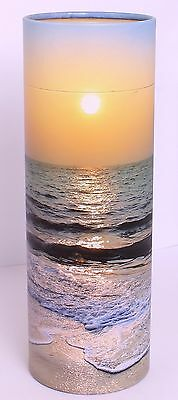 Large Scatter urn For Ashes, Biodegradable Scattering Tube Urn - Beach Sunset