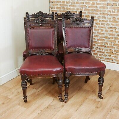 Set of 4 Antique Early Edwardian Solid Walnut Carved Dining Chairs C1890