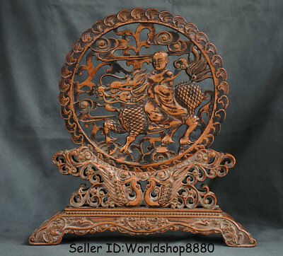 """16"""" Antique Old Chinese Huanghuali Wood Dynasty Kylin Beast Tongzi Screen Statue"""