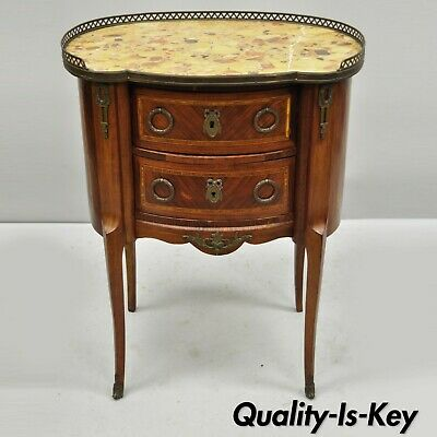 Antique French Louis XV Style Bombe Demilune Marble Top Nightstand Commode Table