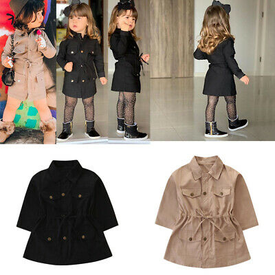 Toddler Kids Baby Girl Long Sleeve Trench Coat Windbreaker Outwear Parka Jacket