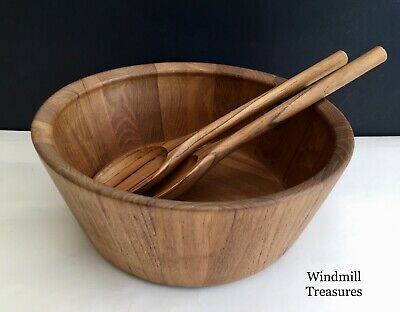 Teak Wood Salad Bowl And Matching Serving Spoons - Good Condition