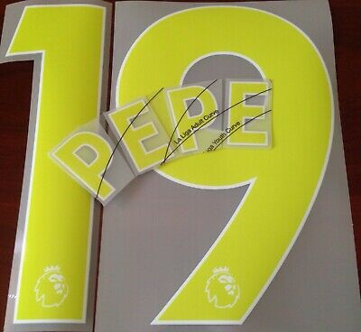 Arsenal Third Shirt 2019-20 PEPE#19 Official Football Name Number Set