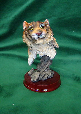 Beautiful Tiger Edgy Figurine with Glossy Round Wood Base, Collectible