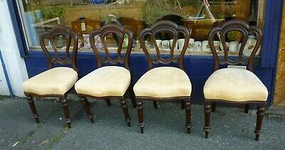 Nice Set Of Four Good Looking Antique Victorian Mahogany Dining Chairs