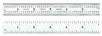 Starrett C604R-12 Spring Tempered Steel Rule With Inch Graduations, 4R Graduatio