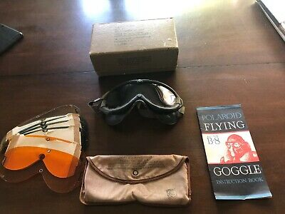 Vintage AAF B-8 WWII Flying Goggle Polaroid Box Instructions Lenses US Army