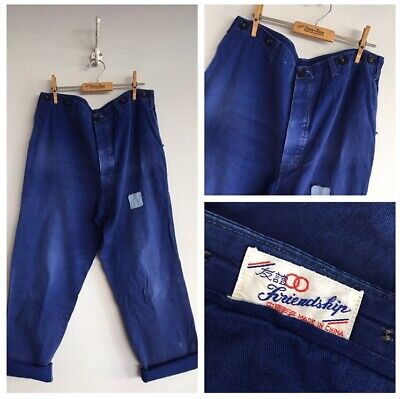"""Vintage Chinese Cotton Chore Faded Patched Workwear Trousers Pants W33"""" 34"""""""
