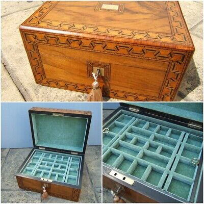 Terrific 19C Antique Victorian Figured Walnut Jewellery Box - Fab Interior
