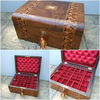 Wonderful 19C Victorian Inlaid Walnut Antique Jewellery Box - Fab Interior