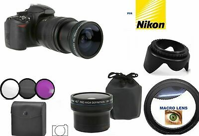 8K 4K Uhd  Hd Fisheye Wide Angle Macro Lens +Hd Filter Kit +Hood For Nikon D5600