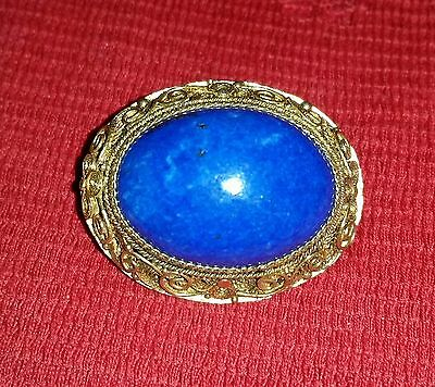 Antique Chinese Export Lapis Sterling Filigree Gold Vermeil Brooch Pin S925 Vtg