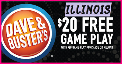 ⭐️ Lot of 6 Dave & Buster's BUY $20 GET $20 GAME PLAY ᶜᵒᵘᵖᵒⁿˢ 💙 ILLINOIS ⭐