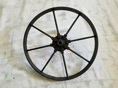 "Antique Primitive Cast Iron Garden Farm Cart 8 Spoke 16"" Wheel   5/8"" Dia. Hub"