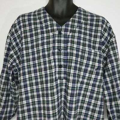 Nautica Mens Cotton Flannel Nightshirt Nightgown Sleep Shirt L Blue Green Plaid