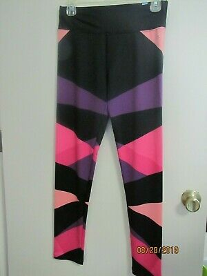 NWT Justice Girls Leggings Black with Purple, Pink, Coral Colors Size 16 CUTE!!