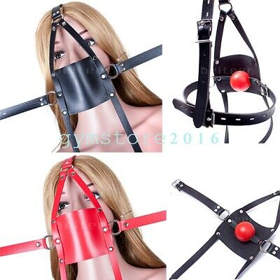 Slave Head Harness Open Mouth Pu Leather Strap Silicone 42mm Mouth Gag Lock Toy