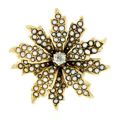 Antique Victorian 14k Gold Diamond & Seed Pearl Leaf Flower Brooch Pin Pendant